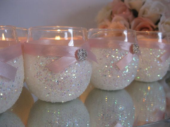 6 White Candle Holders Pink Bridal Shower by GenevieveAndPenelope