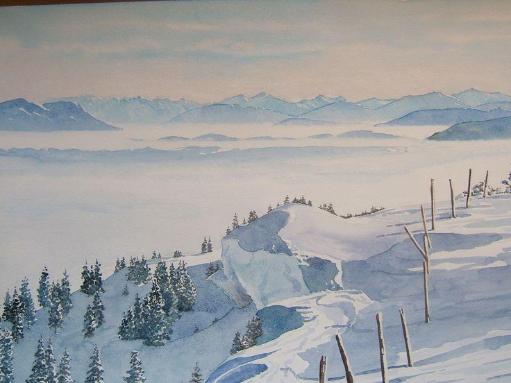 Paysage de neige : le Haut Jura et une vue sur les Alpes : Peintures par rouvidant-aquarelliste  Cette aquarelle représente les dernières et plus hautes pentes et prairies du Haut Jura bordant la grande dépression où s'étale le Léman.  Au premier plan les reliefs doux du Haut Jura parsemés d'épicéas et les prairies enneigées qui les accompagnent.   Au second plan, les brumes hivernales occupant l'ensemble du bassin du Léman et où seules émergent quelques collines.
