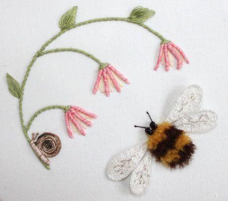 bee stumpwork embroidery