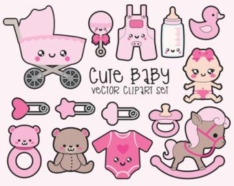 Premium Vector Clipart Kawaii Baby Girl by LookLookPrettyPaper
