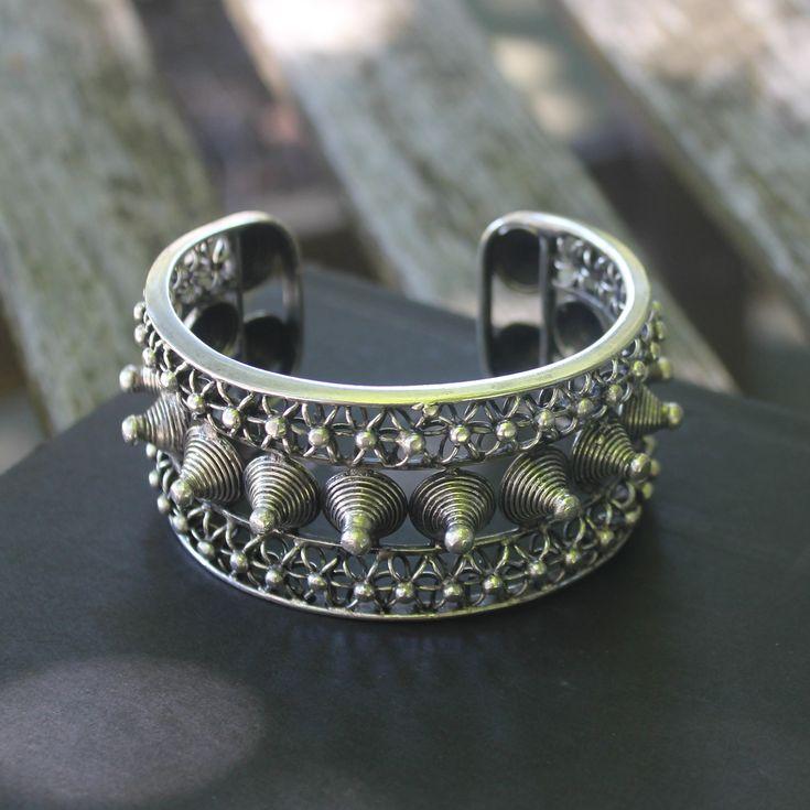 Biker Punk Rock bangle Handmade Ethnic Miao silver Spike studded Cuff bracelet