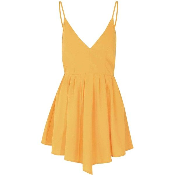 Mustard Caged Back Cami Dress ($34) ❤ liked on Polyvore featuring dresses, yellow, deep v neckline dress, yellow cami, low v neck dress, deep v neck camisole and reversible dress