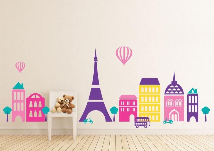 Paris Cityscape Girls Room, Buildings, City, Eiffel tower - baby  Nursery Wall Vinyl. $58.00, via Etsy.