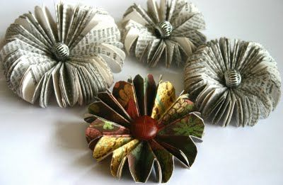 Paper Flowers Made from Book Pages