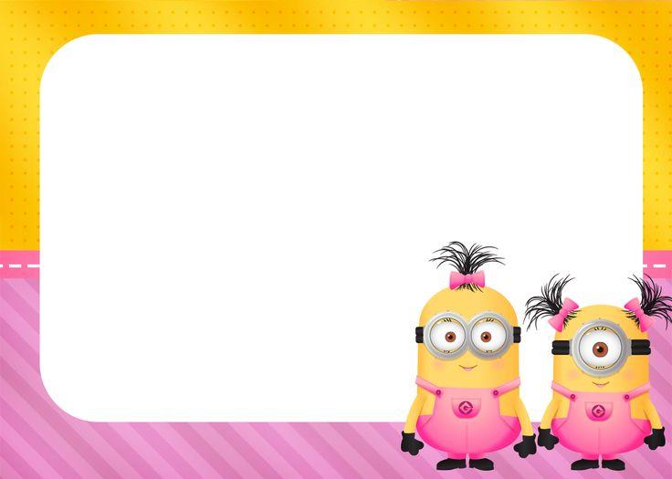 Convite ou Moldura Minions para Meninas