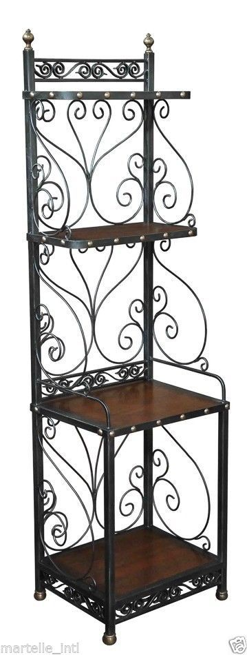 Baker's Rack Kitchen Etagere Iron Old Wood French Walnut Recycled Free shipping #rt