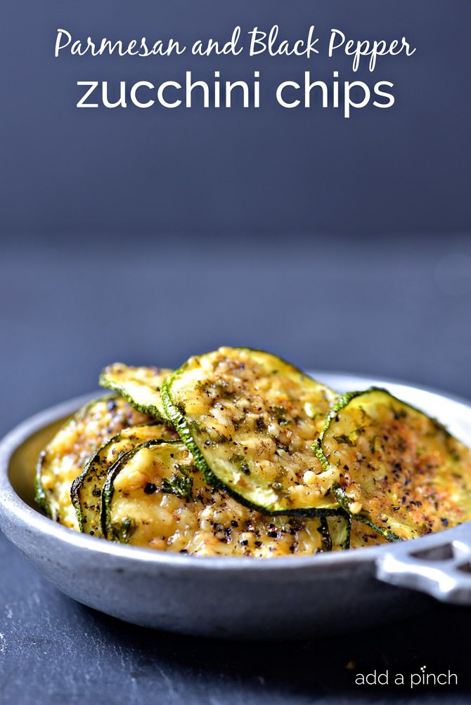 Parmesan and Black Pepper Zucchini Chips Recipe from addapinch.com