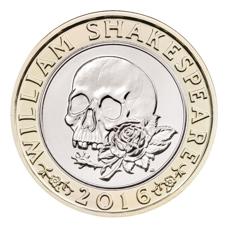 This 'Tragedies' £2 coin is one of three UK £2 coins which mark the 400th anniversary of the death of William Shakespeare in 2016.