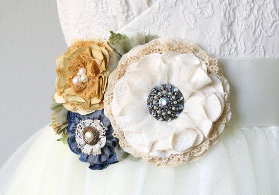 Colorful Floral Bridal Sash in Ivory, Navy Blue and Golden Yellow by Rosy Posy Designs on Etsy.