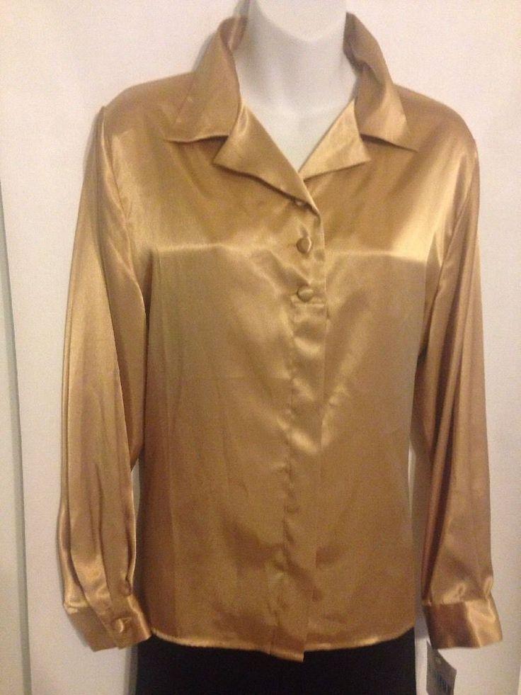 Joan Leslie Size 14P Champagne Gold Satin Long Sleeve Blouse Polyester  #JoanLeslie #ButtonDownShirt #Blouse #ButtonDownBluse #Career #WomensFashion