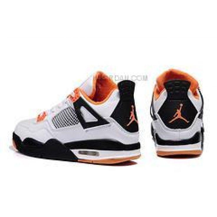 Discount Nike Air Jordan 4 Kids Orange White Black