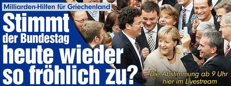 Milliarden-Hilfen für Griechenland | Stimmt der Bundestag heute wieder so fröhlich zu? Die Abstimmung ab 9 Uhr hier im Livestream http://www.bild.de/politik/inland/bundestag/wird-heute-wieder-so-froehlich-zugestimmt-39942450.bild.html