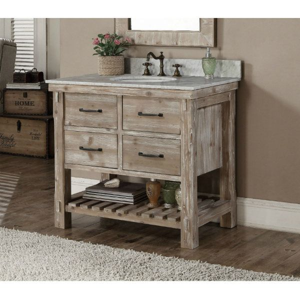 Infurniture Rustic Style Carrara White Marble Top 36 Inch Bathroom Vanity No Faucet Size Single Vanities