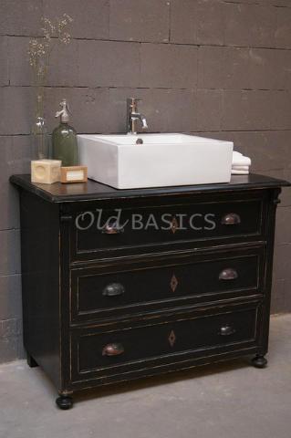 Brocante dressoir/ ladenkast wordt badkamermeubel: echt UNIEK! Te koop bij: www.Old-BASICS.nl (Webshop  grote loods)