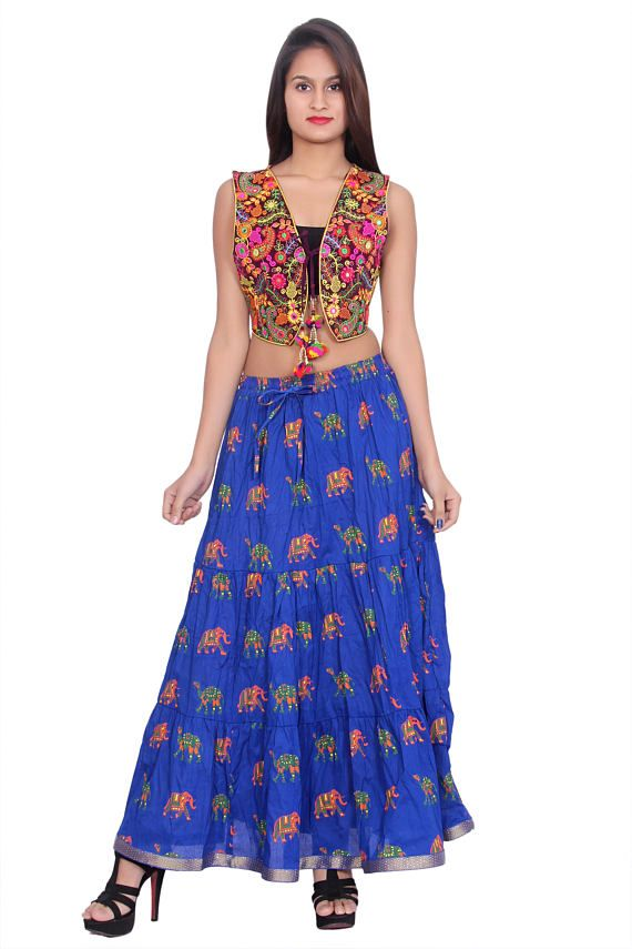 Indian Ethnic Embroidered Colorful Top And Block Print Cotton Lehenga 5ab58e283