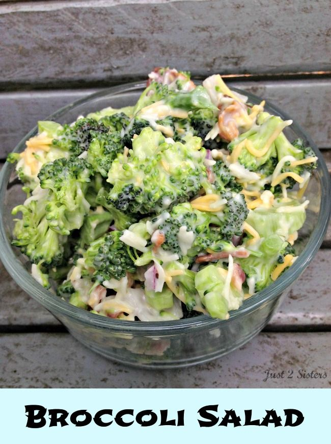 Broccoli Salad Recipe on the Light Side | http://just2sisters.com ...