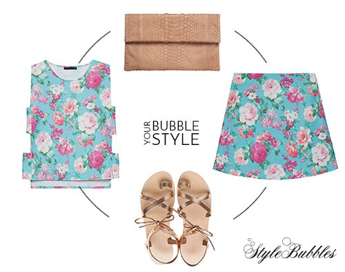 Your Floral Dream! Be stylish and summerish in this A skirt and matching top. Find the look here > http://goo.gl/41Bfie   #StyleBubbles #BubblesYourStyle #fashion #shoponline #floral
