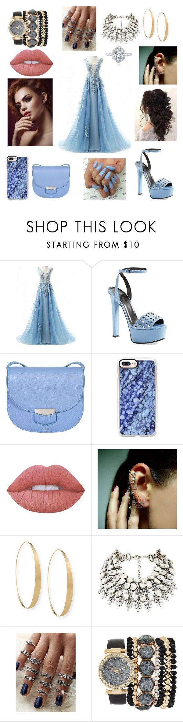 """bright blue"" by ellie-nique on Polyvore featuring Gucci, CÉLINE, Casetify, Lime Crime, Mike Saatji, Lana, Jessica Carlyle and polyvorefashion"