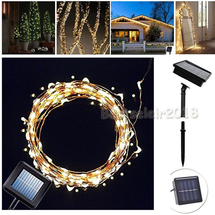 100 LED Solar Powered Garden Fairy String Lights Outdoor Indoor Lamp Strip White # ...
