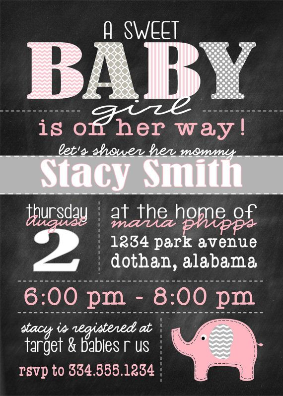 Girl Baby Shower Pink and Gray Elephant, with chevron and chalkboard Digital Invitation