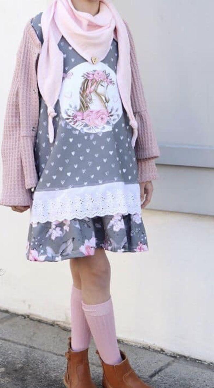 Mädchen Kleid grau rosa in 2020   Kleider, Mädchenkleid ...