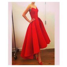 Neue Ankunft Einfache Rote Hohe Niedrige Abschlussball Kleid Falte Satin Langes Abendkleid vestidos de para festa formatura longo //Price: $US $126.00 & FREE Shipping //     #clknetwork