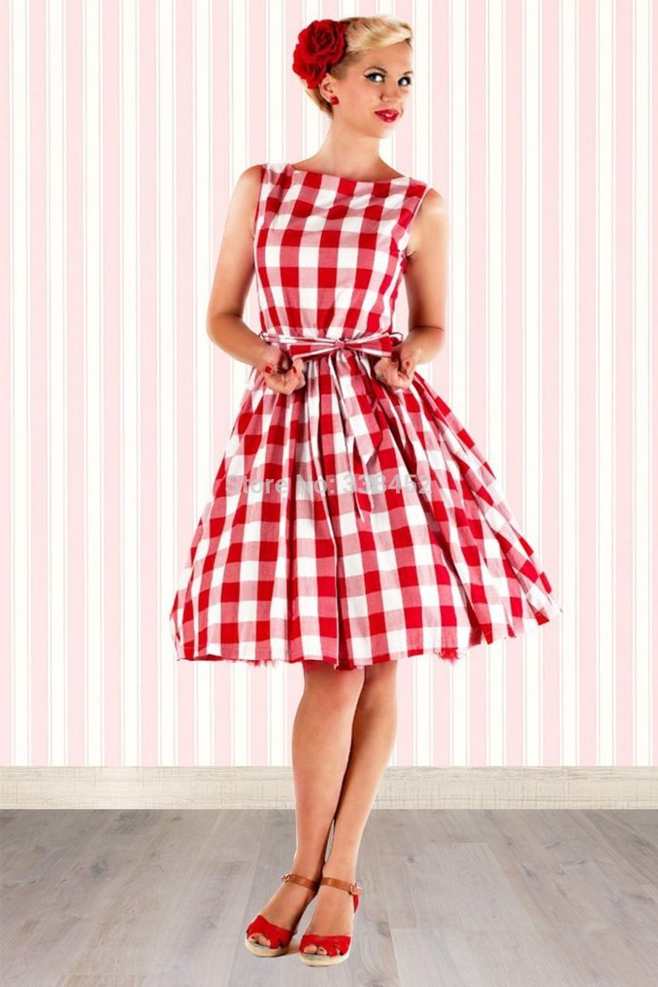 Rockabilly Hepburn classique iconique Rouge Style Blanc Cute Vintage 1950 Vérifié Vichy Imprimer Retro swing Jive Robe Picnic Party(China (Mainland))