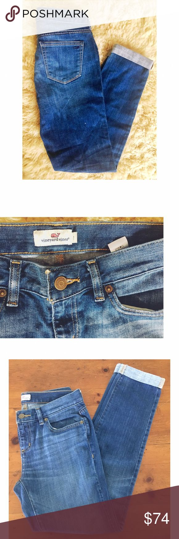 """Vineyard Vines Boyfriend or """"Tomboy"""" Jeans NWOT-2 The Vineyard Vines Guys did a couple of micro-collections for their rabid fan base - but they are fantastic for whomever.  VV known for their cottons - these are mid-weight 99/1%s with fine dip dying.  Ret $108. Called """"The Tomboy- -like BF roomier in seat and thighs. They come rolled up at inseam 28"""".  Never worn- tags are off for some reason. They can unroll but they are adorable as they are. Yes the whale logo is on back pocket blending in…"""