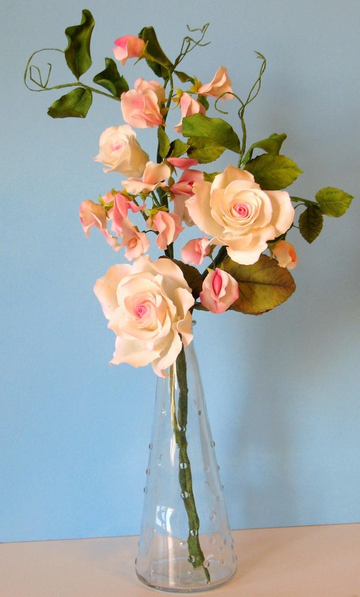 Gumpaste roses with gumpaste sweet peas