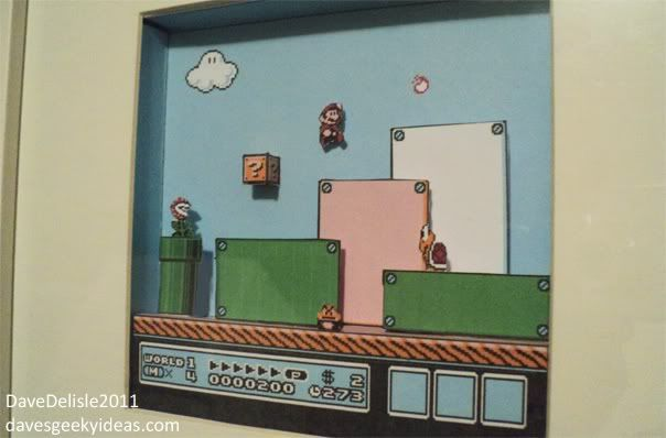 Hand make your own paper shadow box of Super Mario Brothers 3, using Ikea RIBBA frame