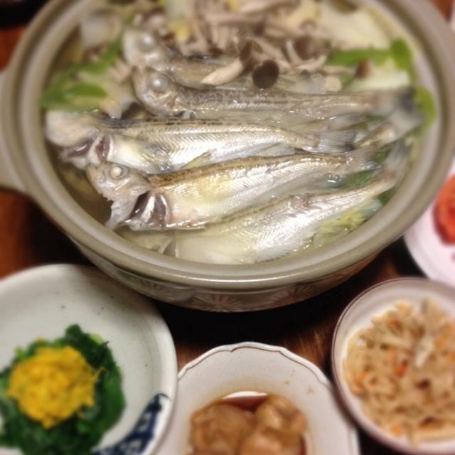 ハタハタが好きだー - 13件のもぐもぐ - しょっつる鍋、ほうれん草と菊のおひたし、鮭白子生姜煮、切り干し大根 by raku0dar