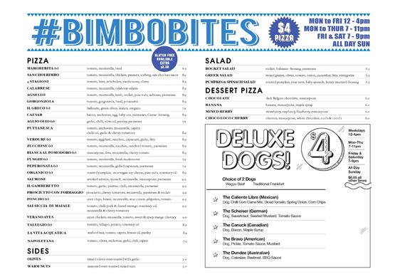 Enjoy a delicious Brunswick street food and lovely drinks at Bimbo Deluxe, Melbourne. We offers cheap eats, late night food in Fitzroy including Deluxe Dogs, Herbavore, Cerveza, Cocktails and many more.