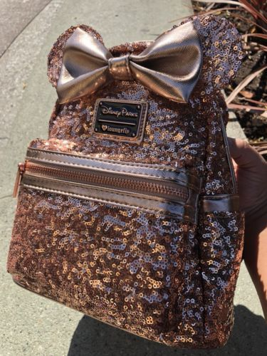 8961b784d83 Rose Gold Minnie Mouse Loungefly Backpack Disney Parks Ears Bow Disneyland