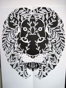 Mighty Lion, original paper cutting, Ingrid Lavoie.
