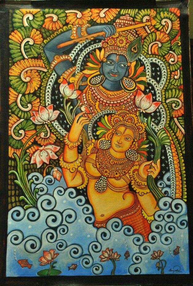 Radha Krishna a Kerala mural painting by Sreejesh