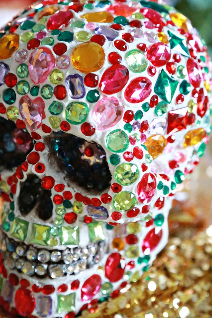 Sparkle Tooth Alert: Collage Clay Crystal Skull