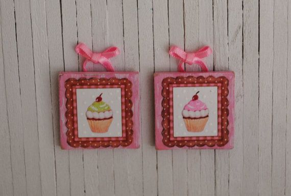 Miniature Pair Of Pink And Green Cupcake for my cupcake themed kitchen
