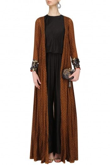 Saaksha & Kinni  Brown Long Cape Jacket with Embroidered Cuffs  #happyshopping #shopnow #ppus