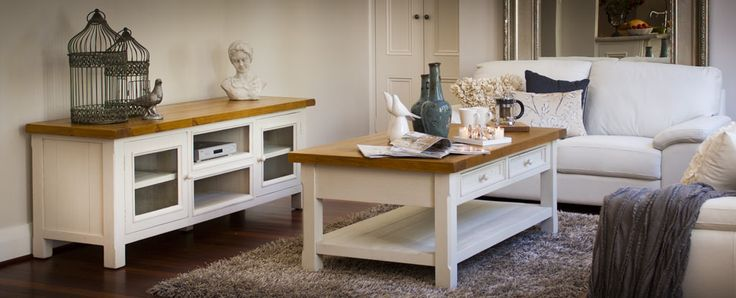 Stafford entertainment unit, coffee table. This delightful range is crafted from recycled pine with natural timber wax finish top and white wash style painted base, it oozes old-world charm.