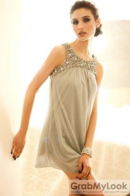 GrabMyLook  Shiny Rhinestone Bejeweled Embellished Chiffon Sleevesless Mini Dress Skirt