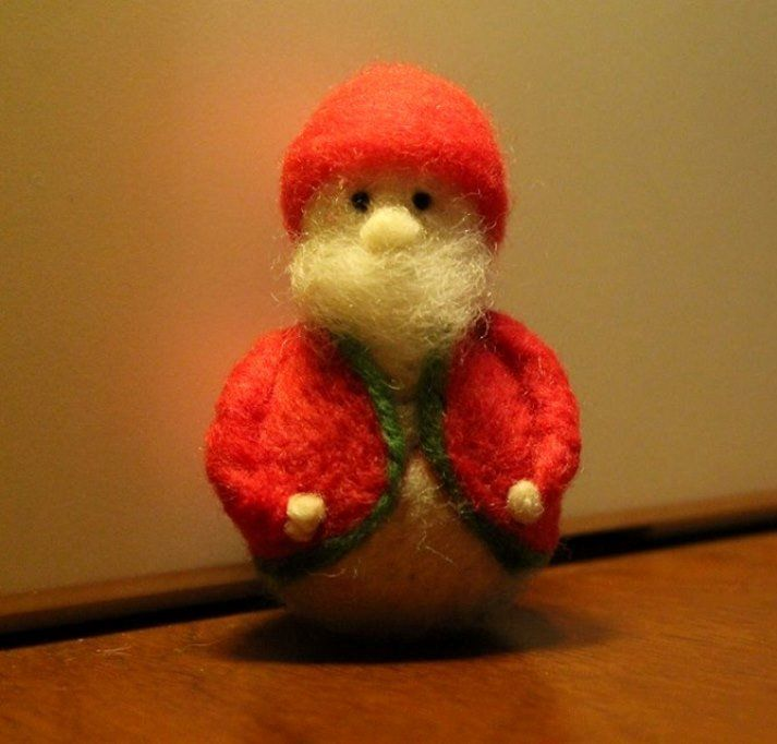 Needle felted Santa Claus inspired Christmas home decoration.