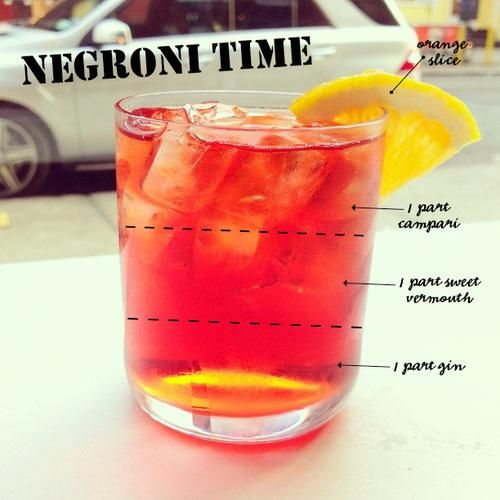 This may be the official way to make to a Negroni...but we like it to sparkle:  Blood Orange Juice Campari Mandarin Polar Seltzer