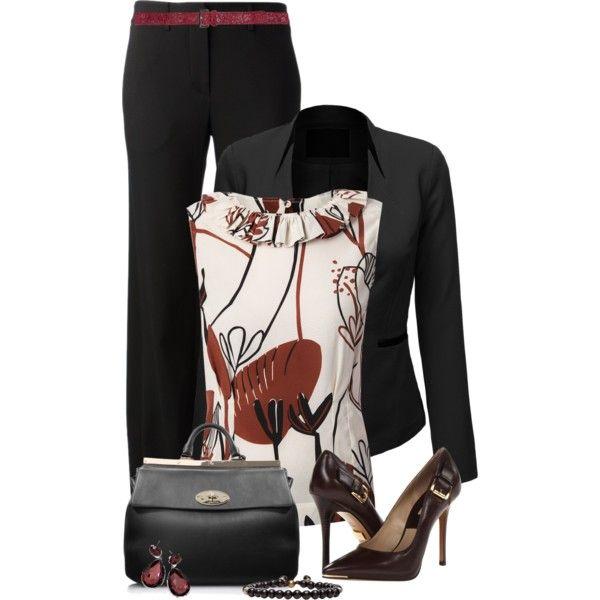 Black pants, blazer/print top, created by mommygerloff on Polyvore