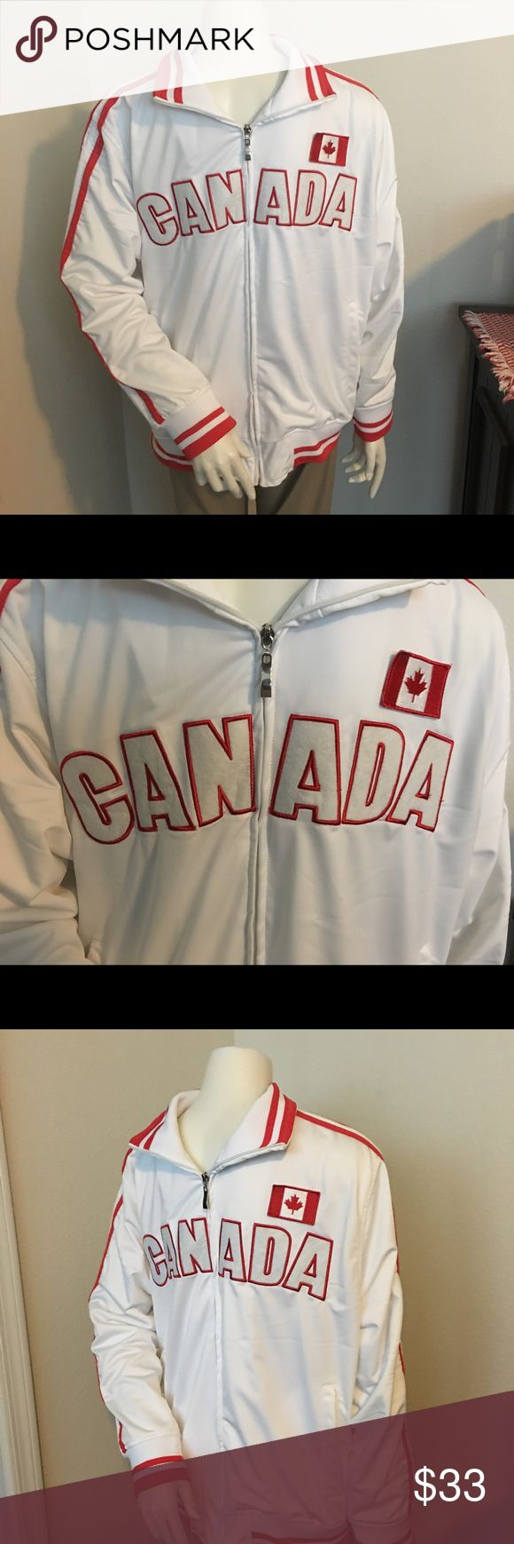 "Men's Canada long sleeve jacket sz: L for sale is a men's, white and red, longsleeve, Canada jacket.  Jacket looks like a jacket that is worn during the Olympic games.   White jacket trimmed in red, Canada embroidered across the chest with a Canadian flag patch on the upper left side of the chest.   From under one arm to under the other measures appx 23"" from the top of the shoulder to the bottom of the jacket measures appx 26""   Ghast brand  Sz: L   If you have any questions or would like…"