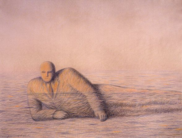 """Garif Basyrov - Tide (1989) From the series """"Inhabited Landscapes"""". Colored pencil on paper, 48x62,6 cm"""