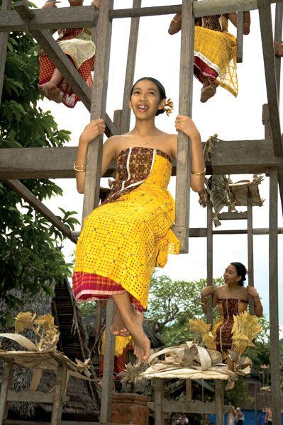 Ayunan tradition of Usaba Sambah Ceremony held in Tenganan, Bali.