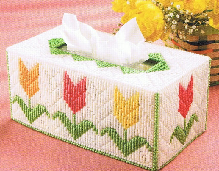 SPRING TULIP GARDEN Tissue Topper Box Cover - Plastic Canvas Pattern. $2.95, via Etsy.