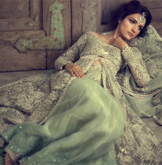 Paquistaní nupcial vestido-Elan jardín de niebla de noche inspirado Vestido de novia/recepción