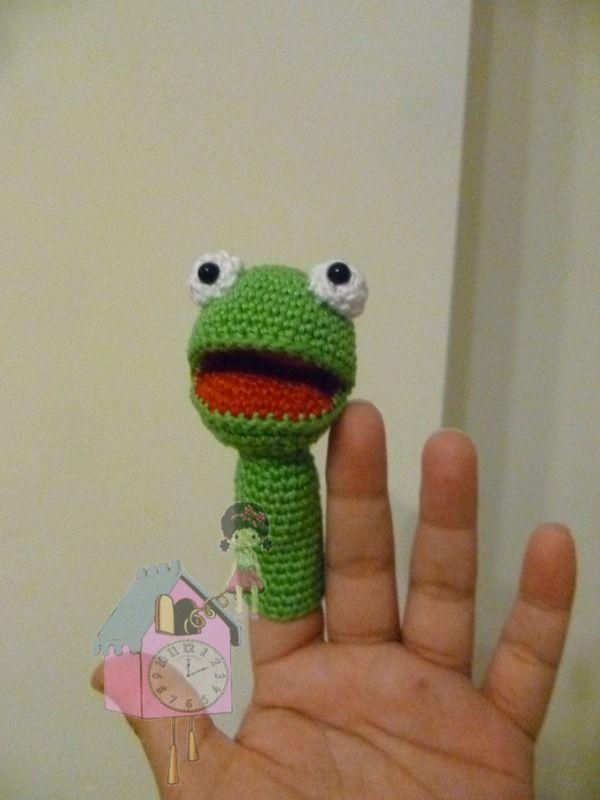 Titere de dedo Rana - Frog finger puppet