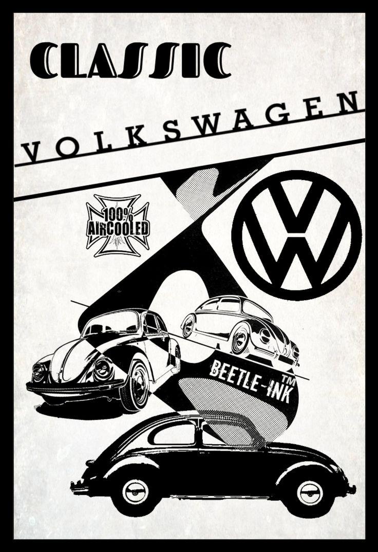 Vw beetle vintage inspired metal sign